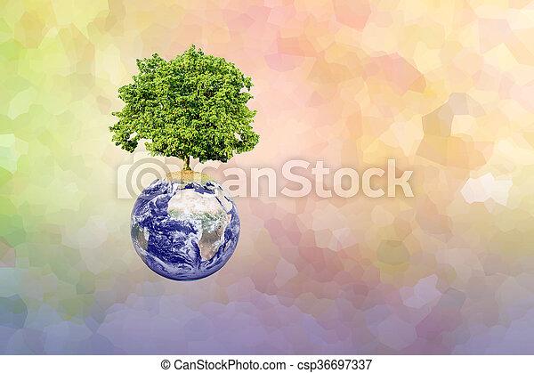 wielkie drzewo, tło, abstrakcyjny, nowoczesny, ziemia - csp36697337
