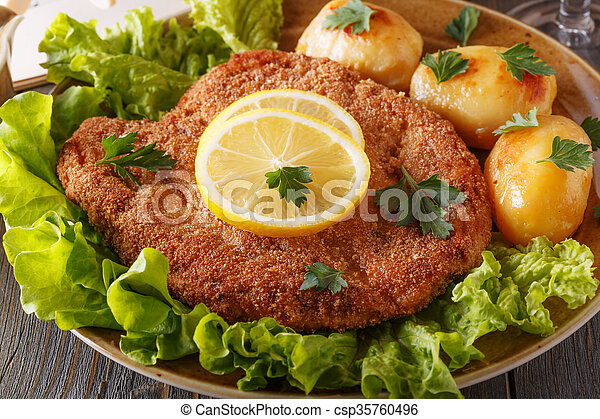 Wiener schnitzel with potatoes and salad. - csp35760496