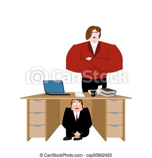 Hombre de negocios asustado bajo la mesa de la esposa. Un hombre de negocios asustado bajo la junta de trabajo. Ilustración de vectores - csp50662420