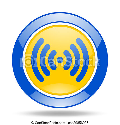 wifi blue and yellow web glossy round icon - csp39856938