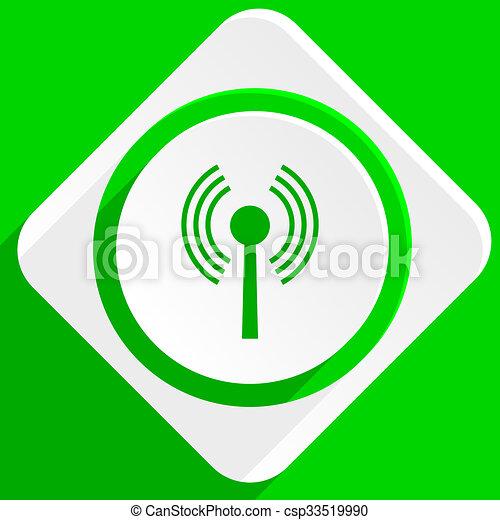 wifi green flat icon - csp33519990