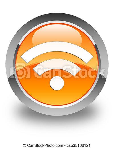 Wifi icon glossy orange round button 2 - csp35108121