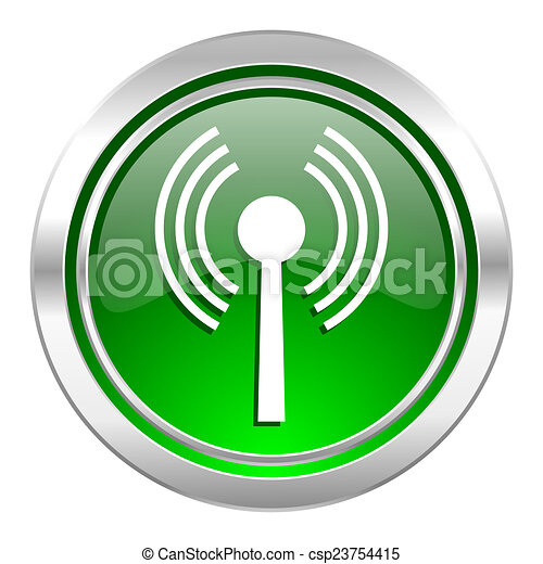 wifi icon, green button, wireless network sign - csp23754415