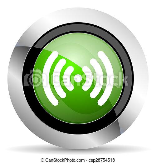 wifi icon, green button, wireless network sign - csp28754518