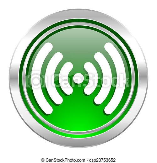 wifi icon, green button, wireless network sign - csp23753652
