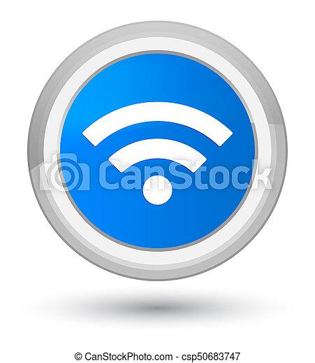 Wifi icon prime cyan blue round button - csp50683747