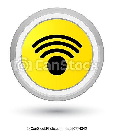 Wifi icon prime yellow round button - csp50774342