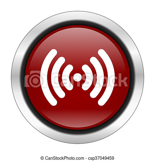 wifi icon, red round button isolated on white background, web design illustration - csp37049459