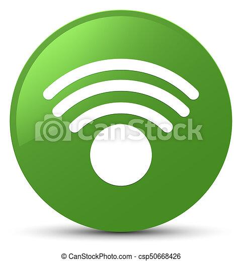 Wifi icon soft green round button - csp50668426