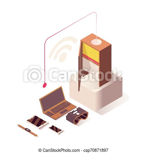 Wifi Internet vector isometric illustration. Online hosting, server, computer hardware equipment and IoT technologies. Wireless connection, networking, database storage isolated 3d - csp70871897