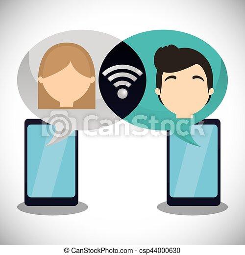wifi, paar, smartphone, plaudern, internet - csp44000630