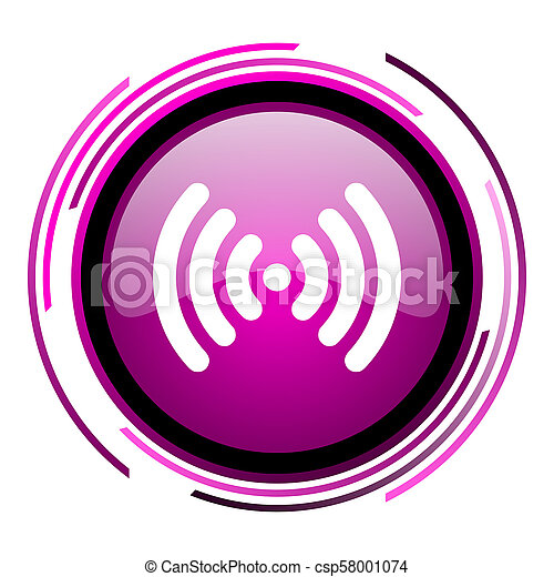 Wifi pink glossy web icon isolated on white background - csp58001074