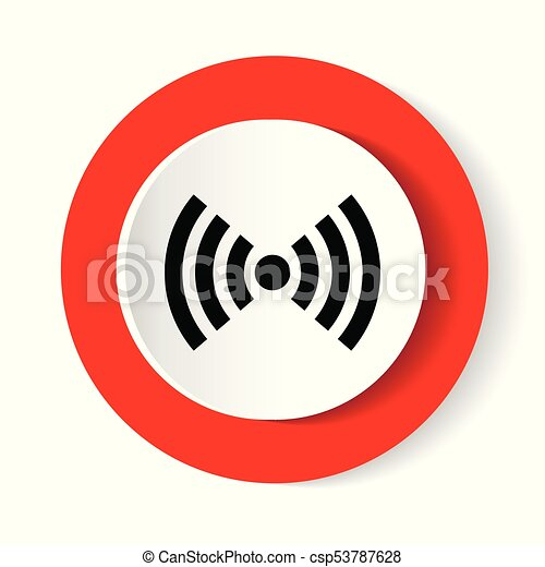 Wifi red isolated on white background. Vector illustration. white modern web vector design and smartphone icon. Round button - csp53787628