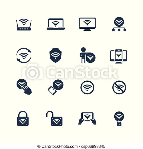 Wifi related vector icon set - csp66993345