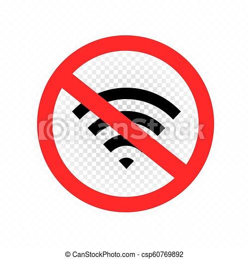 Wifi Signal Forbidden Symbol Icon On White Transparent Background