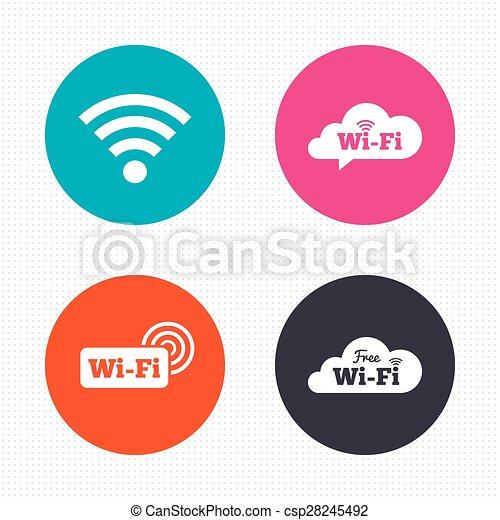 wifi wireless network icons wi fi speech bubble circle buttons