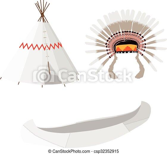 Wigwam Canoe And Headdress