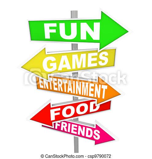 wijzende, amusement, activiteit, plezier, tekens & borden, richtingen - csp9790072