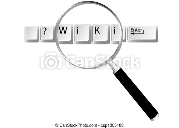 wiki, información, llaves, lupa, hallazgo - csp1805183