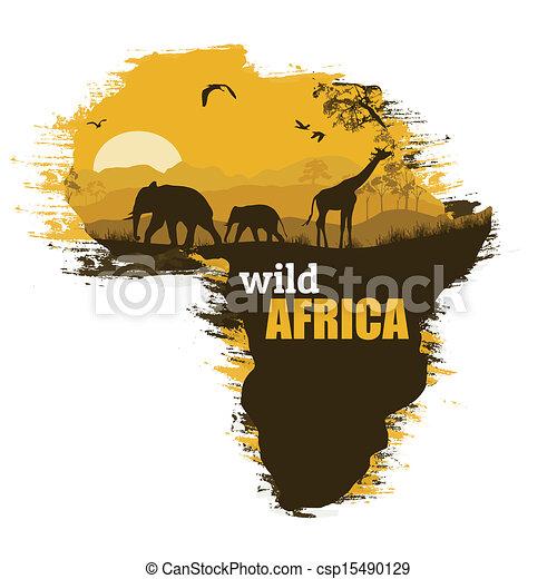 Africa Map Background.Wild Africa Grunge Poster Background Vector Illustration Wild