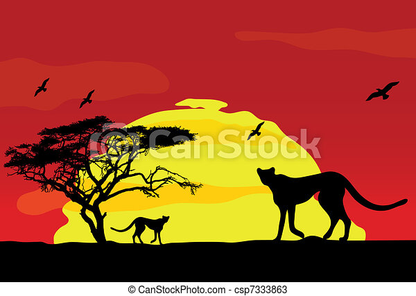 Line Drawings Of African Animals : Wild african animals at sunset vector vectors search clip art