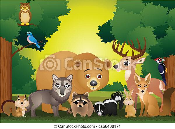 Wild animal cartoon - csp6408171