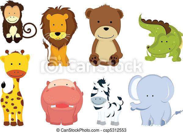 Wild animal cartoons - csp5312553