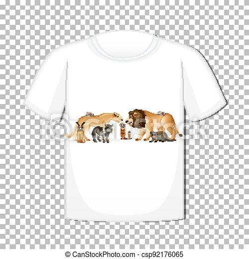 Wild animal group design on t-shirt isolated on transparent background - csp92176065