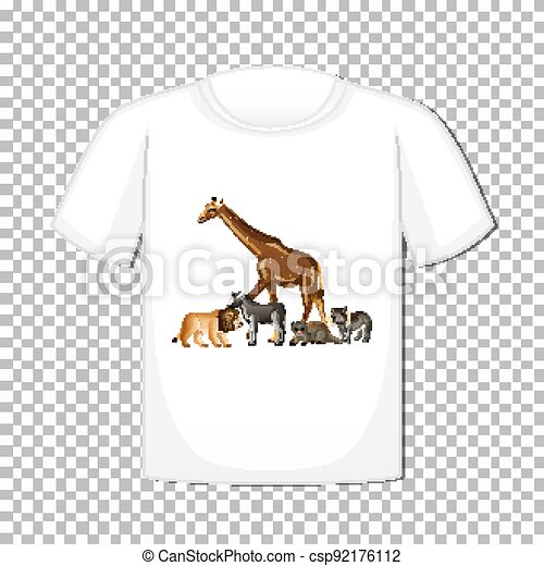 Wild animal group design on t-shirt isolated on transparent background - csp92176112