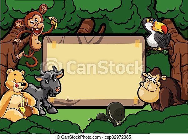 Wild animal group forest scene with - csp32972385