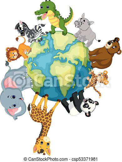 Wild Animal standing around the world - csp53371981