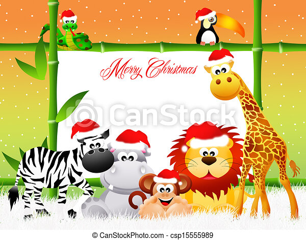 Wild Animals At Christmas Wild Animals With Christmas Hat