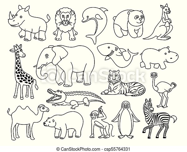 Wild Animals Black And White Graphic In The Line Style African