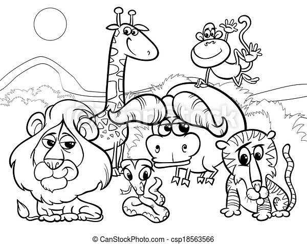 Clip Art Vector Of Wild Animals Cartoon Coloring Page