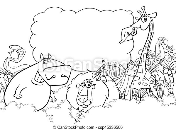 Wild Animals Coloring Page Black And White Cartoon Illustration Of