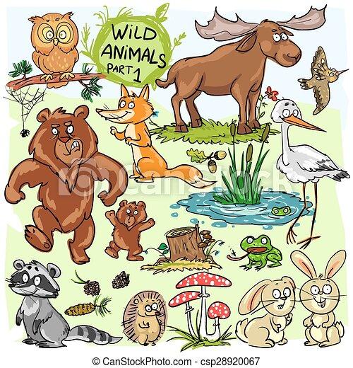 Wild animals, hand drawn collection, part 1.  - csp28920067