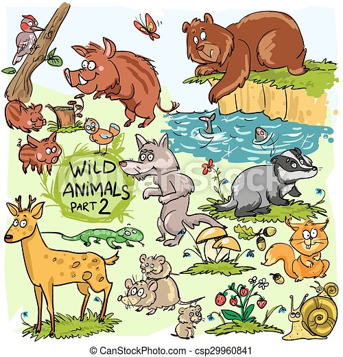 Wild animals, hand drawn collection, part 2.  - csp29960841