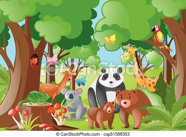 wild animals in the jungle illustration rh canstockphoto com jungle clip art border jungle clip art border
