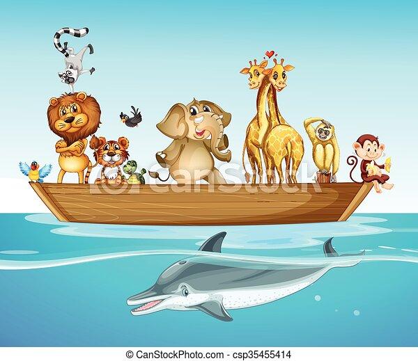 Wild animals on the boat at sea - csp35455414