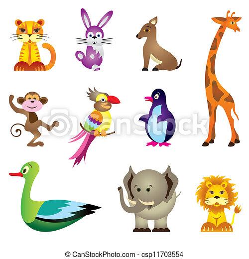 Wild Animals Toys Vector Illustration