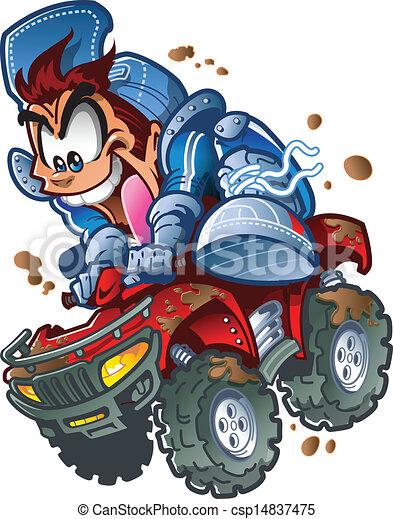 Wilder ATV Quad-Fahrer - csp14837475