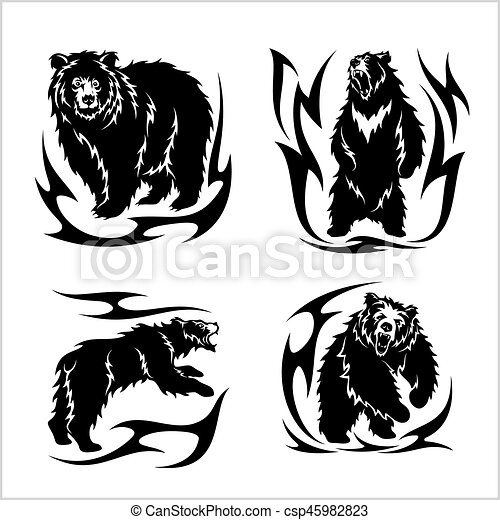 Wild bears ina tribal style isolated on white - csp45982823
