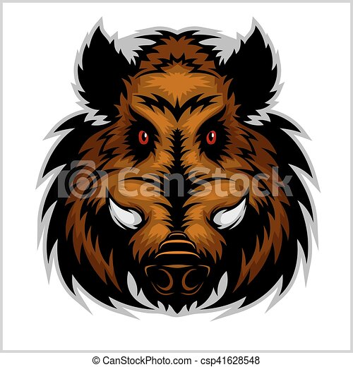Wild Boar Head Logo Mascot Emblem - csp41628548