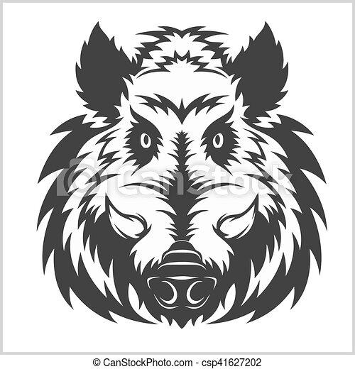 Wild Boar Head Logo Mascot Emblem - csp41627202