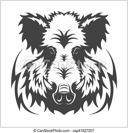 Wild Boar Head Logo Mascot Emblem - csp41627207