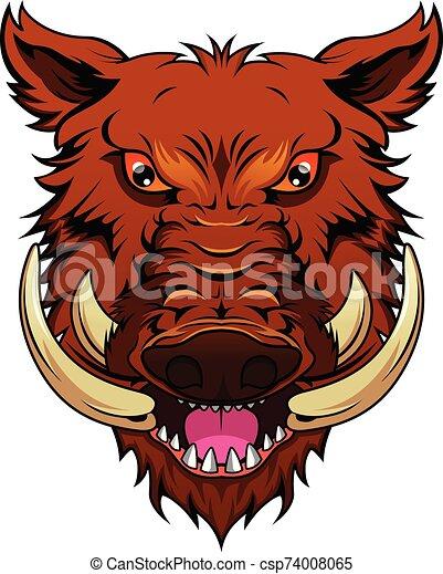 wild boar head mascot - csp74008065