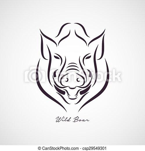 Wild boar logo vector - csp29549301