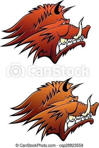 Wild boar mascot with big tusks - csp28823559