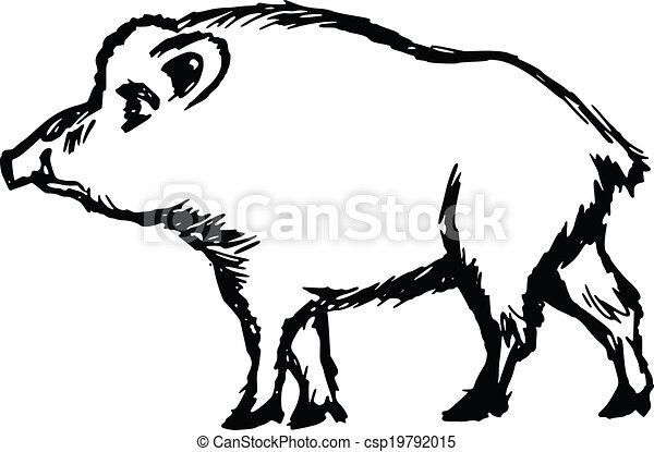 hand drawn cartoon sketch illustration of wild boar vector clip rh canstockphoto com wild boar clip art free wild boar head clipart