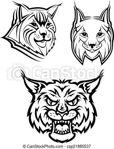 Wild Bobcat Or Lynx Mascots Head Logo Of A Wild Bobcat Or Lynx For